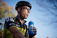 Sven Nys (BEL/Crelan-AAdrinks) hydrating at the start.<br /> As it is the hottest november 1st ever recorded (20°C), hydration is important since it won't be allowed during the race.<br /> <br /> Koppenbergcross 2014