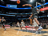 WASHINGTON, DC - FEBRUARY 19: Kalif Young #13 of Providence makes a pass after keeping the ball in bounds during a game between Providence and Georgetown at Capital One Arena on February 19, 2020 in Washington, DC.