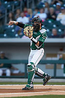 Catcher Derek Fritz (26) of the Charlotte 49ers on defense against the Georgia Bulldogs at BB&T Ballpark on March 8, 2016 in Charlotte, North Carolina. The 49ers defeated the Bulldogs 15-4. (Brian Westerholt/Four Seam Images)