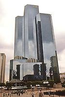 Paris: Tour Total Fina Elf--La Defense's tallest building. WZMH Architects/Roger Saubot., 1985. Energy efficient Post-Modern design. Photo '90.