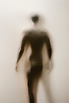 Partially silhouetted nude man behind translucent fabric