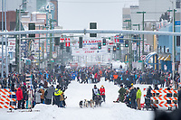 Iditarod 2020 Ceremonial Start in downtown Anchorage, Alaska.