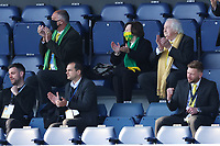 24th April 2021; The Kiyan Prince Foundation Stadium, London, England; English Football League Championship Football, Queen Park Rangers versus Norwich; Delia Ann Smith CH CBE celebrates the goal by Emi Buendia of Norwich City for 1-3 in the 82nd minute