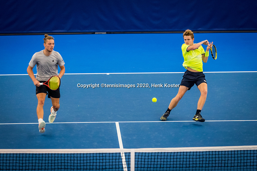 Amstelveen, Netherlands, 16  December, 2020, National Tennis Center, NTC, NK Indoor, National  Indoor Tennis Championships,  Doubles : Jesper de Jong (NED) (R) and <br /> Tim van Rijthoven (NED) <br /> Photo: Henk Koster/tennisimages.com