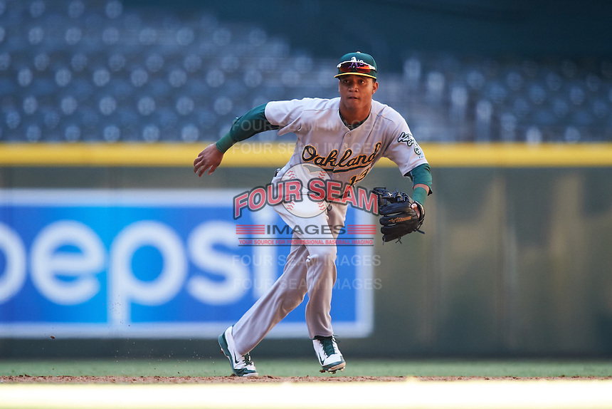 Oakland Athletics Christopher Quintin (13) during an Instructional League game against the Arizona Diamondbacks on October 15, 2016 at Chase Field in Phoenix, Arizona.  (Mike Janes/Four Seam Images)