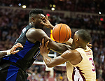 Florida State guard Trent Forrest gets a turn over from Duke forward Zion Williamson under the Duke basket in the first half of an NCAA college basketball game in Tallahassee, Fla., Saturday, Jan. 12, 2019.  (AP Photo/Mark Wallheiser)