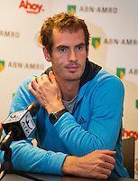 10-02-14, Netherlands,Rotterdam,Ahoy, ABNAMROWTT, Andy Murray (GBR) in a press conference<br /> <br /> Photo:Tennisimages/Henk Koster