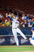 Buffalo Bisons third baseman Andy Burns (8) throws to first during a game against the Lehigh Valley IronPigs on August 29, 2016 at Coca-Cola Field in Buffalo, New York.  Buffalo defeated Lehigh Valley 3-2.  (Mike Janes/Four Seam Images)