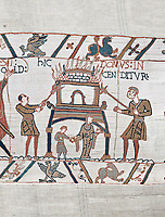 Bayeux Tapestry scene 46:  Duke William id told of Harolds army arrival and a house is burnt to clear the way.