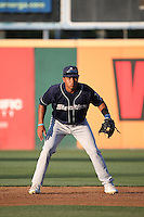 Richie Martin (21) of the Stockton Ports in the field at shortstop during a game against the Rancho Cucamonga Quakes at LoanMart Field on July 3, 2016 in Rancho Cucamonga, California. Rancho Cucamonga defeated Stockton, 2-1. (Larry Goren/Four Seam Images)