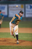 Mooresville Spinners relief pitcher Tyler White (16) (Tusculum College) delivers a pitch to the plate against the Dry Pond Blue Sox at Moor Park on July 2, 2020 in Mooresville, NC.  The Spinners defeated the Blue Sox 9-4. (Brian Westerholt/Four Seam Images)