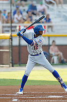Kingsport Mets infielder Shervyen Newton (12) at bat during a game against the Burlington Royals at Burlington Athletic Complex on July 28, 2018 in Burlington, North Carolina. Burlington defeated Kingsport 4-3. (Robert Gurganus/Four Seam Images)