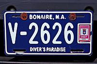 Bonaire car number plate, Netherland Antilles, Bonaire, Caribbean Sea, Atlantic