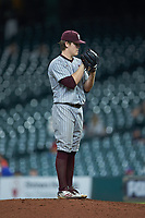 Mississippi State Bulldogs relief pitcher Cole Gordon (24) looks to his catcher for the sign against the Sam Houston State Bearkats during game eight of the 2018 Shriners Hospitals for Children College Classic at Minute Maid Park on March 3, 2018 in Houston, Texas. The Bulldogs defeated the Bearkats 4-1.  (Brian Westerholt/Four Seam Images)