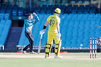 13th March 2020, Sydney Cricket Ground, Sydney, Australia;  Mitchell Santner celebrates after taking the wicket of Steve Smith. International One Day Cricket. Australia versus New Zealand Blackcaps, Chappell–Hadlee Trophy, Game 1.