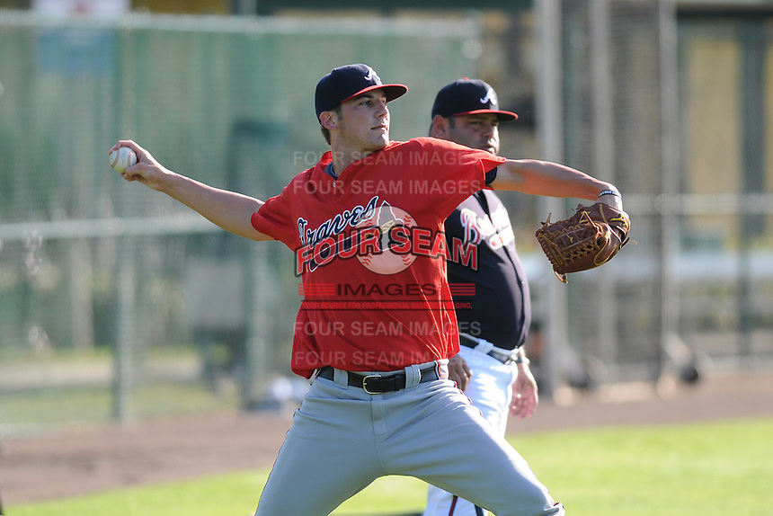 Pitcher Chad Sobotka (84) of the Atlanta Braves farm system in a Minor League Spring Training workout on Tuesday, March 17, 2015, at the ESPN Wide World of Sports Complex in Lake Buena Vista, Florida. (Tom Priddy/Four Seam Images)