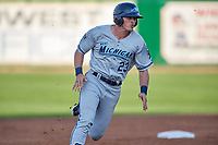 West Michigan Whitecaps left fielder Cam Gibson (23) runs the bases during a game against the Peoria Chiefs on May 8, 2017 at Dozer Park in Peoria, Illinois.  West Michigan defeated Peoria 7-2.  (Mike Janes/Four Seam Images)