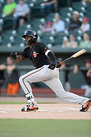 Third baseman J.C. Encarnacion (1) of the Delmarva Shorebirds bats in a game against the Columbia Fireflies on Thursday, May 2, 2019, at Segra Park in Columbia, South Carolina. Delmarva won, 1-0. (Tom Priddy/Four Seam Images)