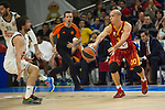 Real Madrid´s Sergio Llull and Galatasaray´s Arroyo during 2014-15 Euroleague Basketball match between Real Madrid and Galatasaray at Palacio de los Deportes stadium in Madrid, Spain. January 08, 2015. (ALTERPHOTOS/Luis Fernandez)