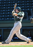 Designated hitter Joel Fisher (32) of the Michigan State Spartans hits in a game against the Northwestern Wildcats on Sunday, February 17, 2013, at Fluor Field at the West End in Greenville, South Carolina. Michigan State won, 7-4. (Tom Priddy/Four Seam Images)