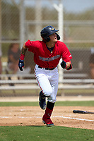 FCL Twins Keoni Cavaco (51) runs to first base during a game against the FCL Red Sox on July 3, 2021 at CenturyLink Sports Complex in Fort Myers, Florida.  (Mike Janes/Four Seam Images)