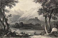 Antique illustration shows landscape in Aosta Valley, Italy. Original, created by Colonel Cockburn and E. Redcliffe, was published in Florence, Italy, 1842, Luigi Bardi ed.
