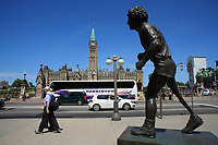 Ottawa (ON) CANADA - Mai 21, 2012 - Tery Fox statue  in front of the House of commons....