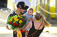 18th July 2021; Paris, France;  VAN AERT Wout (BEL) of JUMBO-VISMA with wife Sarah and son George during stage 21 of the 108th edition of the 2021 Tour de France cycling race, the stage of 108,4 kms between Chatou and finish at the Champs Elysees in Paris.
