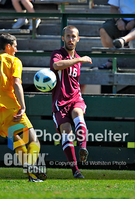 18 September 2011: Harvard University Crimson Defender Tim Linden, a Senior from Libertyville, IL, in action against the University of Vermont Catamounts at Centennial Field in Burlington, Vermont. The Catamounts shut out the visiting Crimson 1-0, earning their 3rd straight victory of the 2011 season. Mandatory Credit: Ed Wolfstein Photo