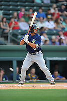 Second baseman Vinny Siena (9) of the Columbia Fireflies bats in a game against the Greenville Drive on Thursday, April 21, 2016, at Fluor Field at the West End in Greenville, South Carolina. Columbia won, 13-9. (Tom Priddy/Four Seam Images)