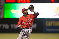 AZL Angels shortstop Daniel Ozoria (23) prepares to catch a pop fly during an Arizona League game against the AZL Indians 2 at Tempe Diablo Stadium on June 30, 2018 in Tempe, Arizona. The AZL Indians 2 defeated the AZL Angels by a score of 13-8. (Zachary Lucy/Four Seam Images)