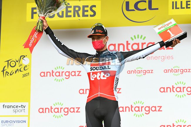 Brent Van Moer (BEL) Lotto-Soudal wins the days combativity prize at the end of Stage 4 of the 2021 Tour de France, running 150.4km from Redon to Fougeres, France. 29th June 2021.  <br /> Picture: A.S.O./Charly Lopez | Cyclefile<br /> <br /> All photos usage must carry mandatory copyright credit (© Cyclefile | A.S.O./Charly Lopez)