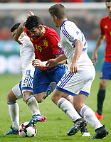 Spain's Diego Costa (c) and Israel's Almog Cohen (l) and David Yair Keltjens during FIFA World Cup 2018 Qualifying Round match. March 24,2017.(ALTERPHOTOS/Acero) /NortePhoto.com