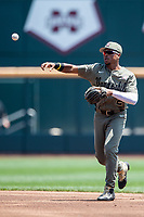 Vanderbilt Commodores second baseman Harrison Ray (2) makes a throw to first base during Game 3 of the NCAA College World Series against the Louisville Cardinals on June 16, 2019 at TD Ameritrade Park in Omaha, Nebraska. Vanderbilt defeated Louisville 3-1. (Andrew Woolley/Four Seam Images)