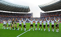Players of team Germany celebrate after wining the opening match during the FIFA Women's World Cup at the FIFA Stadium in Berlin, Germany on June 26th, 2011.