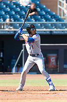 Scottsdale Scorpions left fielder Desmond Lindsay (1), of the New York Mets organization, at bat during an Arizona Fall League game against the Peoria Javelinas at Peoria Sports Complex on October 18, 2018 in Peoria, Arizona. Scottsdale defeated Peoria 8-0. (Zachary Lucy/Four Seam Images)