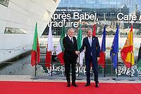 28 oct 2016, Marseille, France - Jean-Marc Ayrault, Ministre des Affaires EtrangËres et co-prÈsident de la 13Ëme rÈunion des Ministres des Affaires EtrangËres du 'Dialogue 5+5 sur la MÈditerranÈe occidentale'. Paolo Gentiloni, Ministre des Affaires EtrangËres d'Italie. # JEAN-MARC AYRAULT RECOIT A MARSEILLE LES MINISTRES DES AFFAIRES ETRANGERES DES PAYS MEDITERRANEENS
