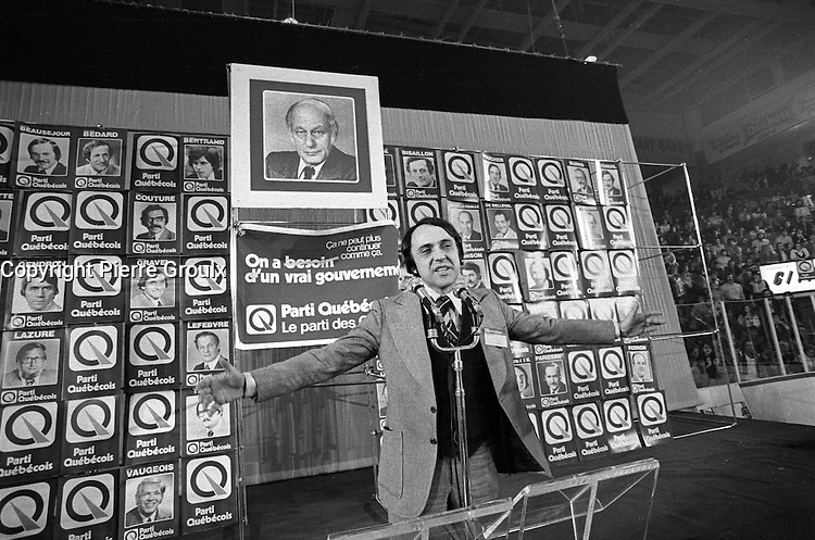 November 15, 1976 file photo - Montreal (QC) CANADA --<br /> Gilbert Paquette adress the crown before <br /> Parti Quebecois win the provincial 1976 election.