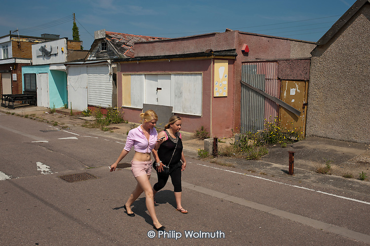 Boarded-up shops and businesses on the Brooklands Estate in Jaywick Sands, close to the Essex resort of Clacton-on-Sea.  The estate's small wooden houses - many little bigger than beach huts - were originally built as holiday homes. Brooklands is the most deprived ward in the UK, according to the latest Indices of Multiple Deprivation.