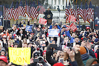 Supporters gesture towards the media as US President Donald J. Trump delivers remarks to supporters gathered to protest Congress' upcoming certification of Joe Biden as the next president on the Ellipse in Washington, DC, USA, 06 January 2021. Various groups of Trump supporters are gathering to protest as Congress prepares to meet and certify the results of the 2020 US Presidential election.<br /> CAP/MPI/RS<br /> ©RS/MPI/Capital Pictures