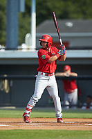 Jonatan Machado (51) of the Johnson City Cardinals at bat against the Burlington Royals at Burlington Athletic Stadium on July 15, 2018 in Burlington, North Carolina. The Cardinals defeated the Royals 7-6.  (Brian Westerholt/Four Seam Images)