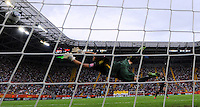 Shannon Boxx (r) of team USA scores at the penalty shootout against Andreia of team Brazil during the FIFA Women's World Cup at the FIFA Stadium in Dresden, Germany on July 10th, 2011.