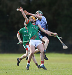 Evan Hawkes of St Fergal's College in action against Darren Mc Namara of Scariff Community College during their All-Ireland Colleges final at Toomevara. Photograph by John Kelly.
