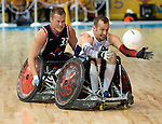 MISSISSAUGA, ON, AUGUST 14, 2015. Gold Medal Game in Wheelchair Rugby - CAN 57 vs USA 54 - Zak Madell.<br /> Photo: Dan Galbraith/Canadian Paralympic Committee