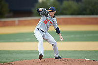 Illinois Fighting Illini starting pitcher Andy Fisher (38) in action against the Wake Forest Demon Deacons at David F. Couch Ballpark on February 16, 2019 in  Winston-Salem, North Carolina.  The Fighting Illini defeated the Demon Deacons 5-2. (Brian Westerholt/Four Seam Images)