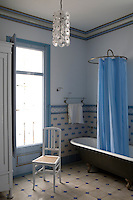 Inside Casa Blaua, one of the last Modernista or art nouveau buildings in Catalunya inspired by the works of Gaudi Original fittings dating from 1912 are still in use in the bathroom.