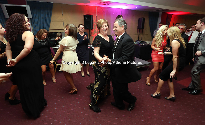 Pictured: The parents of Angel Rangel (C) dancing. Wednesday 10 April 2013<br /> Re: Swansea footballer Angel Rangel and wife Nicky's cancer charity fundraising dinner at the Liberty Stadium.