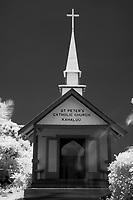 Ghostly images appear exit St Peters Catholic church Kahaluu beach ir The Big Island of Hawaii