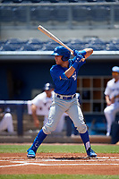 Dunedin Blue Jays Cullen Large (4) during a Florida State League game against the Charlotte Stone Crabs on April 17, 2019 at Charlotte Sports Park in Port Charlotte, Florida.  Charlotte defeated Dunedin 4-3.  (Mike Janes/Four Seam Images)