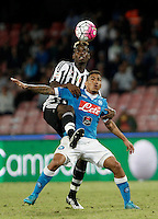 Calcio, Serie A: Napoli vs Juventus. Napoli, stadio San Paolo, 26 settembre 2015. <br /> Juventus' Paul Pogba, left, and Marques Allan fight for the ball during the Italian Serie A football match between Napoli and Juventus at Naple's San Paolo stadium, 26 September 2015.<br /> UPDATE IMAGES PRESS/Isabella Bonotto